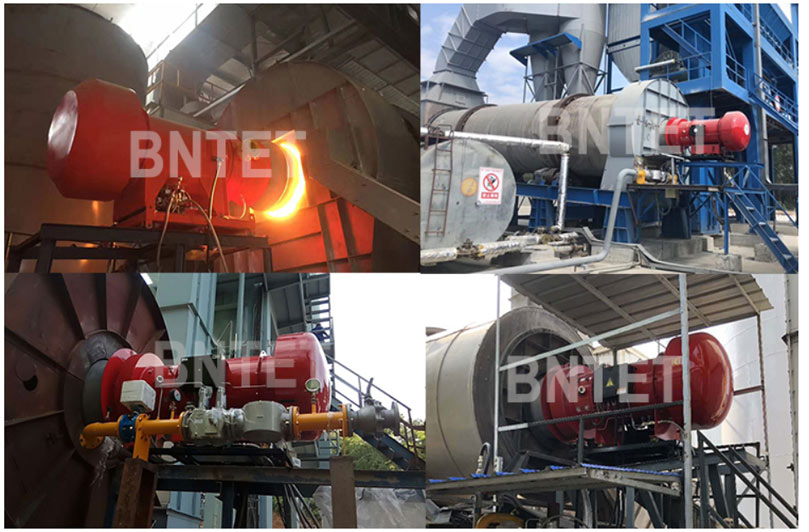Asphalt mixing plant burners